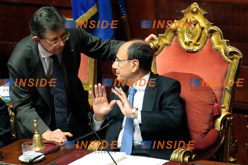 Piero Giarda e Renato Schifani.Roma 29/02/2012 Camera dei Deputati. Discussione sul DDL Liberalizzazioni. .Photo Samantha Zucchi Insidefoto