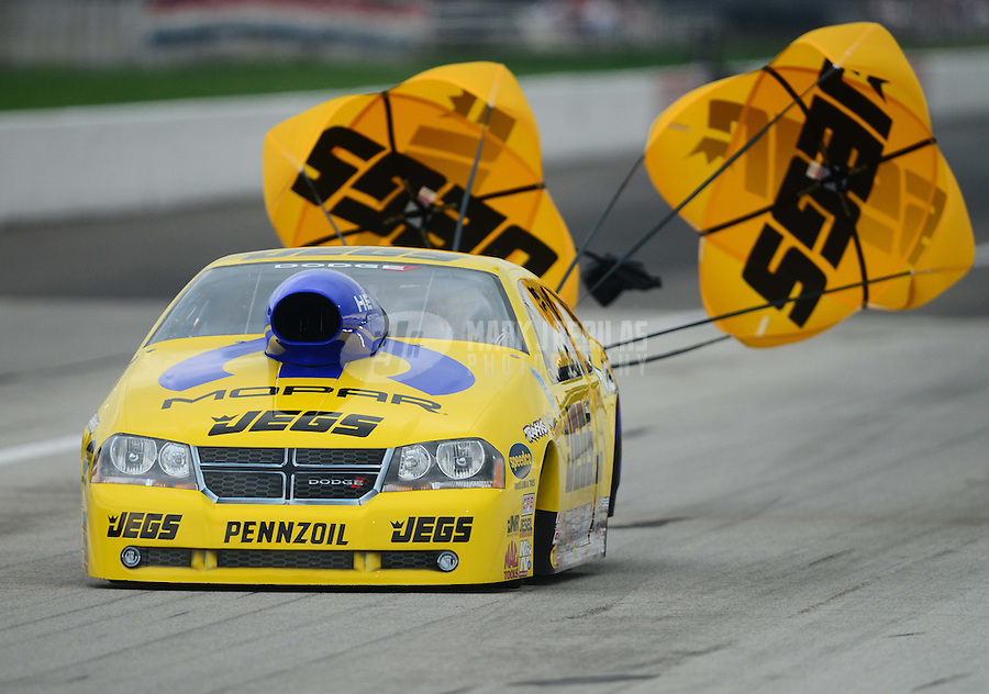 Sept. 1, 2012; Claremont, IN, USA: NHRA pro stock driver Jeg Coughlin during qualifying for the US Nationals at Lucas Oil Raceway. Mandatory Credit: Mark J. Rebilas-