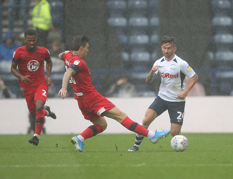 Preston North End's Sean Maguire in action with Wigan Athletic's Joe Williams <br /> <br /> Photographer Mick Walker/CameraSport<br /> <br /> The EFL Sky Bet Championship - Preston North End v Wigan Athletic - Saturday 10th August 2019 - Deepdale Stadium - Preston<br /> <br /> World Copyright © 2019 CameraSport. All rights reserved. 43 Linden Ave. Countesthorpe. Leicester. England. LE8 5PG - Tel: +44 (0) 116 277 4147 - admin@camerasport.com - www.camerasport.com