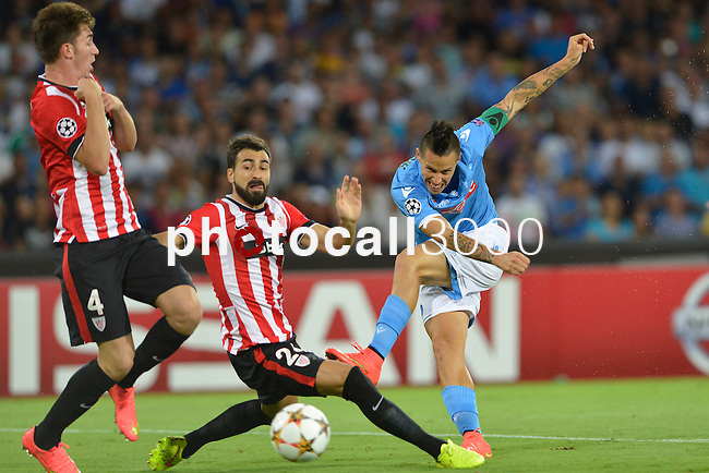 Marek Hamsik of Napoli during the match between SSC Napoli and Athletic Club Bilbao, play-offs First leg Champions League at the San Paolo Stadium onTuesday August 19, 2014 in Napoli, Italy. (Photo by Marco Iorio)<br />