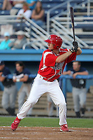 Batavia Muckdogs outfielder Jordan Walton #31 at bat during an exhibition game against the Newark Pilots of the Perfect Game Collegiate Baseball Lague at Dwyer Stadium on June 15, 2012 in Batavia, New York.  Batavia defeated Newark 8-0.  (Mike Janes/Four Seam Images)