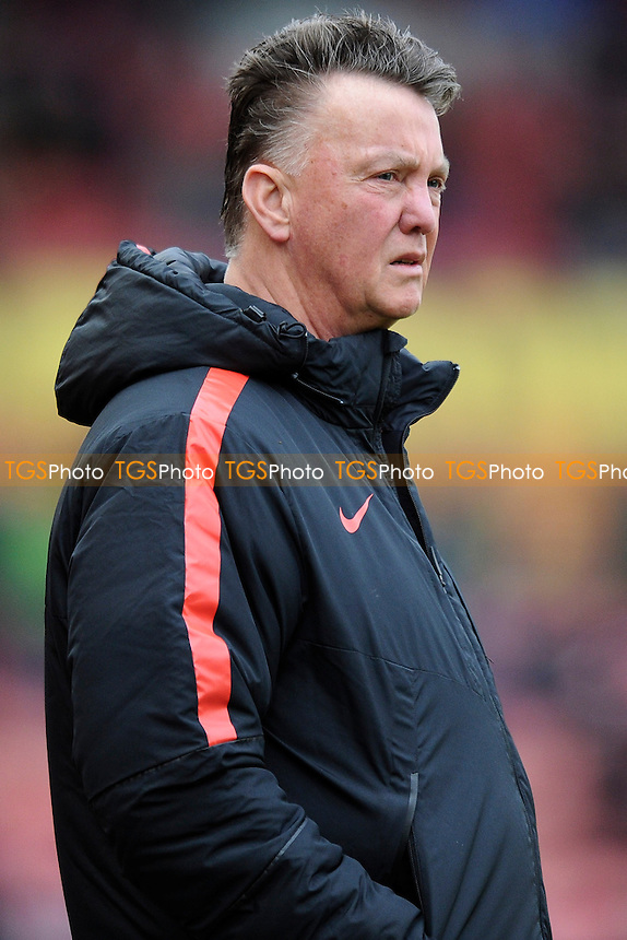 Manchester United manager Louis van Gaal watches his side warmup ahead of the match - Stoke City vs Manchester United - Barclays Premier League Football at the Britannia Stadium, Stoke-on-Trent - 01/01/15 - MANDATORY CREDIT: Greig Bertram/TGSPHOTO - Self billing applies where appropriate - contact@tgsphoto.co.uk - NO UNPAID USE