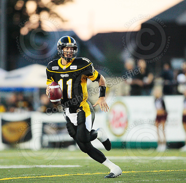 Aug 3, 2007; Hamilton, ON, CAN; Winnipeg Blue Bombers play the Hamilton Tiger-Cats at Ivor Wynne Stadium. The Tiger-Cats defeated the Blue Bombers 43-22. Mandatory Credit: Ron Scheffler. Pictured here is Hamilton Tiger-Cats quarterback (11) Jason Maas.