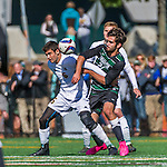3 October 2015: Binghamton University Bearcat Forward Nikos Psarras, a Freshman from Malesina, Greece, battles University of Vermont Catamount Midfielder Charlie DeFeo, a Senior from Newfields, NH, during game action at Virtue Field in Burlington, Vermont. The Bearcats held on to defeat the Catamounts 2-1 in America East conference play. Mandatory Credit: Ed Wolfstein Photo *** RAW (NEF) Image File Available ***