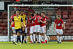 Wrexham 2 Ebbsfleet United 0, 18/11/2017. The Racecourse Ground, National League. Goal celebration after Chris Holroyd of Wrexham scores from the penalty spot. Photo by Paul Thompson.