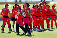 2nd November 2019; Western Australia Cricket Association Ground, Perth, Western Australia, Australia; Womens Big Bash League Cricket, Melbourne Renegades versus Sydney Sixers; Ellis Perry and Lauren Smith of the Sydney Sixers walk off after the Sixers defeated the Renegades in the last over - Editorial Use