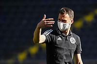 16th May 2020, Commerzbank-Arena, Frankfurt, Germany; Bundesliga football, Eintracht Frankfurt versus Borussia Moenchangladbach; Referees warm up in masks