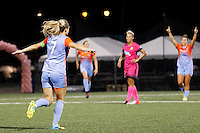 Rochester, NY - Saturday Aug. 27, 2016: Kealia Ohai celebrates scoring during a regular season National Women's Soccer League (NWSL) match between the Western New York Flash and the Houston Dash at Rochester Rhinos Stadium.