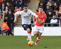 Olly Lee of Luton Town breaks away during the Sky Bet League 2 match between Blackpool and Luton Town at Bloomfield Road, Blackpool, England on 17 December 2016. Photo by Liam Smith.