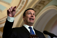 United States Senator Chris Murphy (Democrat of Connecticut) speaks at a press conference following weekly policy luncheons on Capitol Hill in Washington D.C., U.S. on July 30, 2019. Credit: Stefani Reynolds/CNP/AdMedia