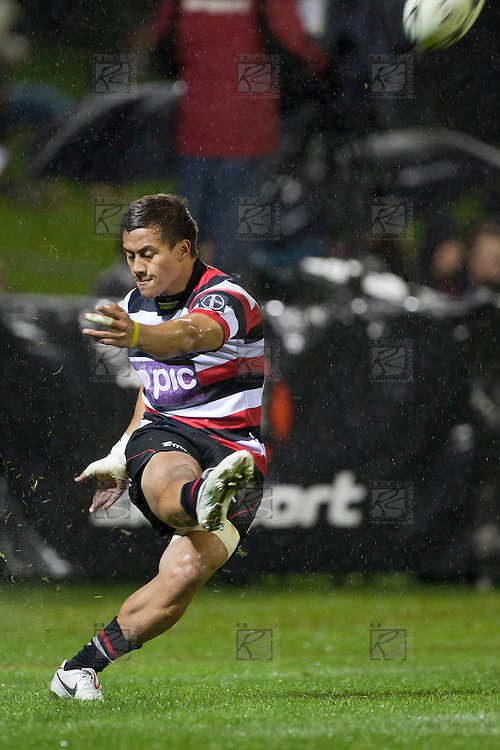 Tim Nanai Williams converts the Tuala try. ITM Cup rugby game between Counties Manukau Steelers and the Tasman Makos played at Bayer Growers Stadium Pukekohe on Thursday 2nd September 2010..Counties Manukau won 23 - 3 after leading 13 - 3 at halftime.
