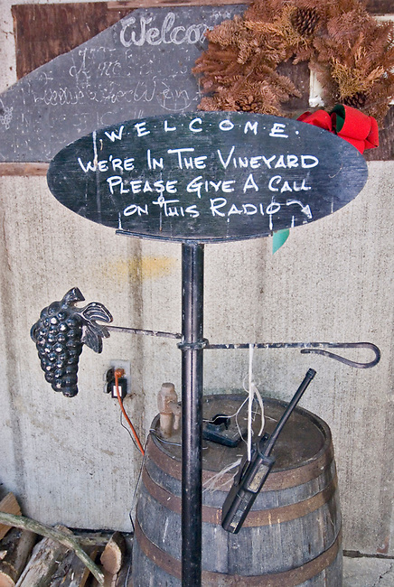 Sign welcomes visitors to Markko Vineyards ndear Conneaut, ohio