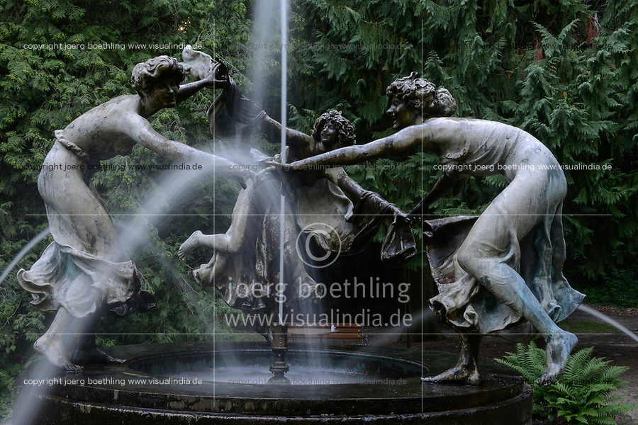 GERMANY, castle Burg Schlitz near Teterow , Nymph fountain in bronze with dancing maidens in landscape park, designed by german sculptor Walter Schott in 1903, another cast of the original is also located today in New York Central Park since 1947 named Untermyer Fountain