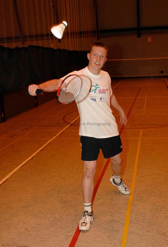 Photo: Richard Lane/Richard Lane Photography..UK Schools Games Press Conference, Coventry. 25/07/2007. .England schools badminton player, Jake Wyatt.