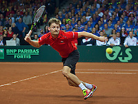 Gent, Belgium, November 29, 2015, Davis Cup Final, Belgium-Great Britain, day three, David Goffin (BEL)<br /> Photo: Tennisimages/Henk Koster