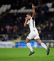 Swansea City's Kyle Naughton celebrates scoring his side's second goal<br /> <br /> Photographer Chris Vaughan/CameraSport<br /> <br /> The EFL Sky Bet Championship - Hull City v Swansea City -  Friday 14th February 2020 - KCOM Stadium - Hull<br /> <br /> World Copyright © 2020 CameraSport. All rights reserved. 43 Linden Ave. Countesthorpe. Leicester. England. LE8 5PG - Tel: +44 (0) 116 277 4147 - admin@camerasport.com - www.camerasport.com