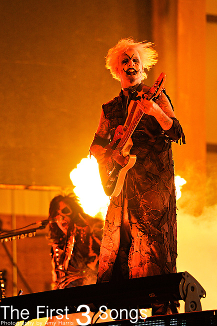 John 5 (John Lowery) and Piggy D (Matt Montgomery) of Rob Zombie perform during day one of the 2011 Rock Fest on July 14, 2011 in Cadott, Wisconsin.