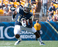 Pitt wide receiver Dontez Ford runs after a catch. The Pitt Panthers defeated the Villanova Wildcats 28-7 at Heinz Field, Pittsburgh, Pennsylvania on September 3, 2016.