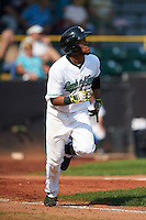 Clinton LumberKings outfielder Gianfranco Wawoe (13) runs to first during a game against the Great Lakes Loons on August 16, 2015 at Ashford University Field in Clinton, Iowa.  Great Lakes defeated Clinton 3-2.  (Mike Janes/Four Seam Images)