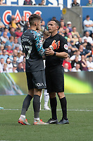Referee Dean Whitestone discusses the penalty with Swansea City's Freddie Woodman <br /> <br /> Photographer David Horton/CameraSport<br /> <br /> The EFL Sky Bet Championship - Swansea City v Preston North End - Saturday 17th August 2019 - Liberty Stadium - Swansea<br /> <br /> World Copyright © 2019 CameraSport. All rights reserved. 43 Linden Ave. Countesthorpe. Leicester. England. LE8 5PG - Tel: +44 (0) 116 277 4147 - admin@camerasport.com - www.camerasport.com