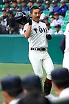 Haruto Sakanoshita (),<br /> APRIL 1, 2016 - Baseball :<br /> Haruto Sakanoshita of Osaka Toin reacts after hitting a solo home run in the second inningg during the 89th National High School Baseball Invitational Tournament final game between Riseisha 3-8 Osaka Toin at Koshien Stadium in Hyogo, Japan. (Photo by Katsuro Okazawa/AFLO)