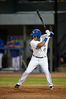Bluefield Blue Jays designated hitter Hector Guerrero (15) at bat during a game against the Bristol Pirates on July 26, 2018 at Bowen Field in Bluefield, Virginia.  Bristol defeated Bluefield 7-6.  (Mike Janes/Four Seam Images)