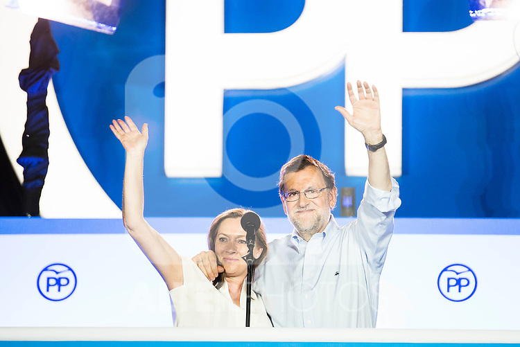 Mariano Rajoy and his wife Elvira Fernandez Balboa during the celebration of the victory of the Spanish Elections at the headquarter of Partido Popular in Madrid. June 26, 2016. (ALTERPHOTOS/BorjaB.Hojas)