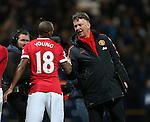 Manchester United's Louis Van Gaal celebrates at the final whistle with Ashley Young<br /> <br /> FA Cup - Preston North End vs Manchester United  - Deepdale - England - 16th February 2015 - Picture David Klein/Sportimage