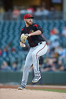 Rochester Red Wings starting pitcher Zack Littell (27) in action against the Charlotte Knights at BB&T BallPark on May 14, 2019 in Charlotte, North Carolina. The Knights defeated the Red Wings 13-7. (Brian Westerholt/Four Seam Images)