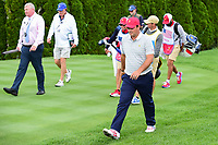 Patrick Reed (USA) departs the 4th tee during round 3 Four-Ball of the 2017 President's Cup, Liberty National Golf Club, Jersey City, New Jersey, USA. 9/30/2017.<br /> Picture: Golffile | Ken Murray<br /> <br /> All photo usage must carry mandatory copyright credit (&copy; Golffile | Ken Murray)