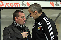 ATTENTION SPORTS PICTURE DESK<br /> Pictured L-R: Managers Brendan Rodgers for Swansea and Keith Millen for Bristol<br /> Re: npower Championship, Swansea City FC v Bristol City Football Club at the Liberty Stadium, south Wales. Wednesday 10 November 2010