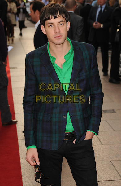 """MARK RONSON.""""Righteous Kill"""" UK film premiere, Empire Leicester Square, London, England..September 14th, 2008.half length green shirt blue tartan plaid suit jacket hand in pocket .CAP/CAS.©Bob Cass/Capital Pictures."""