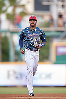 Jacksonville Jumbo Shrimp center fielder Monte Harrison (3) jogs off the field during a game against the Mobile BayBears on April 14, 2018 at Baseball Grounds of Jacksonville in Jacksonville, Florida.  Mobile defeated Jacksonville 13-3.  (Mike Janes/Four Seam Images)