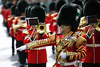 Pictured: The Welsh Guards parade through Princess Way in Swansea.  Friday 15 September 2017<br />Re: Soldiers from the Welsh Guards have exercised their freedom to march through the streets of Swansea in Wales, UK.<br />The Welsh warriors paraded with bayonets-fixed from the city centre to the Brangwyn Hall, where the Lord Mayor of Swansea took a salute.