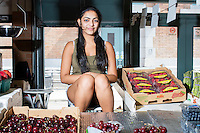 Kerestina Khalil (Egyptian immigrant) came to the US 15 years ago when she was 3. Her mother is a citizen of the US. Kerestina works at a fruit market in Cleveland's West Side Market.