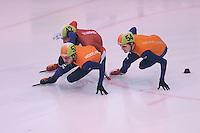 SCHAATSEN: DORDRECHT: 11-10-2015, Invitation Cup Shorttrack, Sjinkie Knegt (#53), Sandor Liu Shaolin (#42), Freek van der Wart (#54), ©foto Martin de Jong