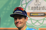 Jakob Fuglsang (DEN) Astana Pro Team at sign on before the start of the 112th edition of Il Lombardia 2018, the final monument of the season running 241km from Bergamo to Como, Lombardy, Italy. 13th October 2018.<br /> Picture: Eoin Clarke | Cyclefile<br /> <br /> <br /> All photos usage must carry mandatory copyright credit (© Cyclefile | Eoin Clarke)