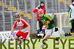 In Action Derry's Eugene McGuckin and kerry's Keith Carmody in the Allianz Hurling League Kerry Vs Derry at Austin Stack Park on Sunday
