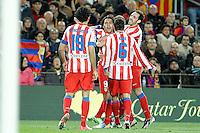 ATENCAO EDITOR IMAGEM EMBARGADA PARA VEICULOS INTERNACIONAIS - BARCELONA, ESPANHA, 16 DEZEMBRO 2012 - Rodamel Falcao (C) comemora seu gol contra o Barcelona em partida pela 16 Rodada do Campeonato Espanhol no Camp Nou em Barcelona capital da Catalunha na Espanha. (FOTO: ALFAQUI / BRAZIL PHOTO PRESS)..