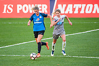 Kansas City, MO - Thursday August 10, 2017: Katie Bowen, Mccall Zerboni during a regular season National Women's Soccer League (NWSL) match between FC Kansas City and the North Carolina Courage at Children's Mercy Victory Field.