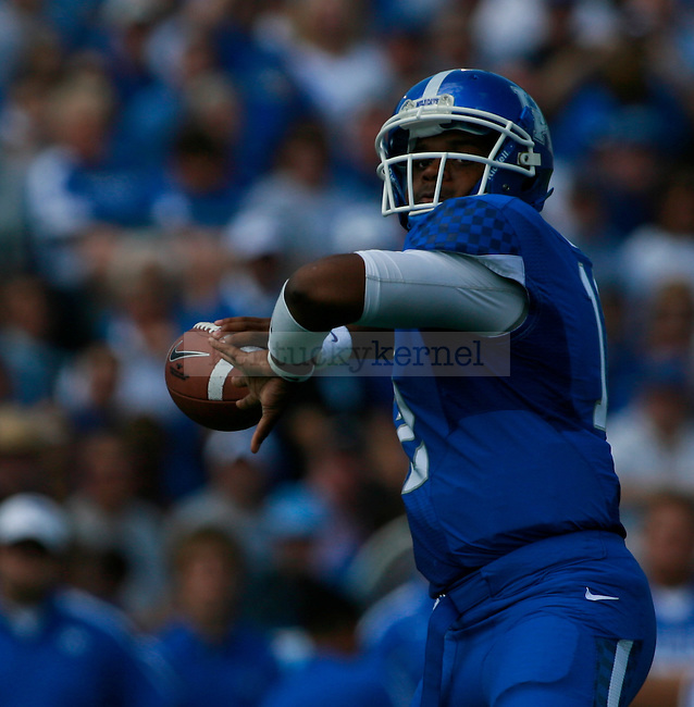 UK quarterback Morgan Newton throws a pass during the first half of UK's first home game against Central Michigan, Saturday, Sept. 10, 2011 in Lexington, Ky.  Photo by Brandon Goodwin | Staff