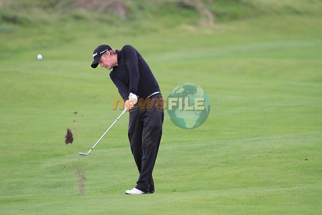 Day one of the Irish PGA championship at Seapoint Golf Club,.Darren McWilliams playing the 18th..Picture Fran Caffrey/www.golffile.ie.