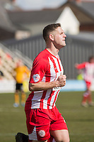 Billy Kee of Accrington Stanley celebrates scoring his side's first goal during the Sky Bet League 2 match between Newport County and Accrington Stanley at Rodney Parade, Newport, Wales on 28 March 2016. Photo by Mark  Hawkins.