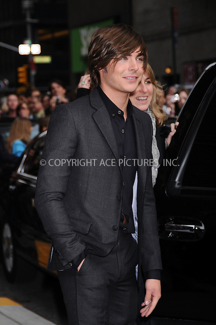 WWW.ACEPIXS.COM . . . . .  ....April 13 2009, New York City....Actor Zac Efron made an appearance at the 'Late Show with David Letterman' on April 13 2009 in New York City....Please byline: AJ Sokalner - ACEPIXS.COM..... *** ***..Ace Pictures, Inc:  ..tel: (212) 243 8787..e-mail: info@acepixs.com..web: http://www.acepixs.com