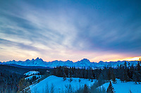 Grand Teton sunset from Togwotte Pass east on Grand Teton National Park