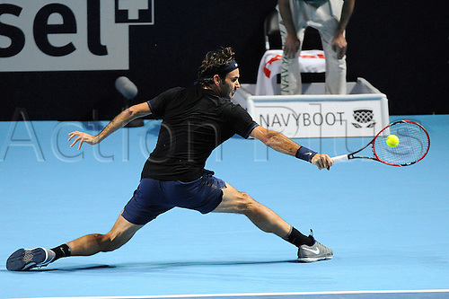 30.10.2015. Basel, Switzerland. Basel Swiss Indoor Tennis Championships. Day Six Roger Federer in action in the match between Roger Federer of Switzerland and David Goffin of Belgium