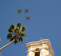 DEL MAR, CA - NOVEMBER 04: Military jets fly over the track on Day 2 of the 2017 Breeders' Cup World Championships at Del Mar Racing Club on November 4, 2017 in Del Mar, California. (Photo by Carson Denis/Eclipse Sportswire/Breeders Cup)