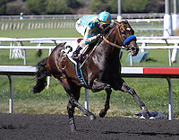 Miracle horse Paynter with Rafael Bejarano aboard wins his first race back in an allowance race at Betfair Hollywood Park in Inglewood, California on June 14, 2013. (Zoe Metz/ Eclipse Sportswire)