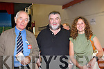 Mike Scannell chats with Gearoid MacEarly and Mary Rose Mangan during the South Kerry Lisbon Treaty count in the Aras Padraig Killarney on Friday   Copyright Kerry's Eye 2008