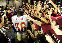 Sept. 19, 2009; Provo, UT, USA; Florida State Seminoles linebacker Dekota Watson is congratulated by fans following the game against the BYU Cougars at LaVell Edwards Stadium. Florida State defeated BYU 54-28. Mandatory Credit: Mark J. Rebilas-